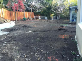 Excavation Ready To Begin. Showing the yard relatively leveled now wtih only the ground remaining.