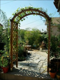 Wood frame arbor with flowers