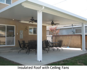 Insulated Patio Cover with Ceiling Fans.