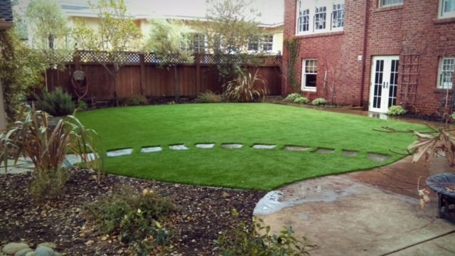 Project: Woodside, CA Backyard With Stepping Stones U0026 Synthetic Grass