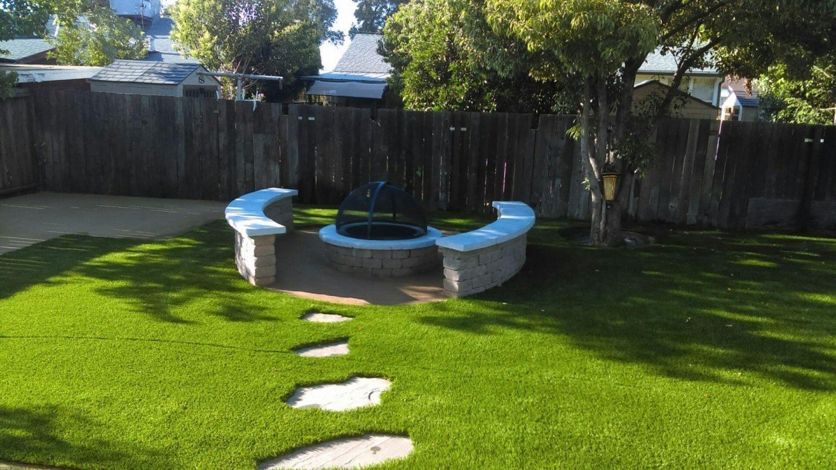 Beau Project: Antioch, CA Backyard Turf U0026 Fire Pit With Stepping Stones