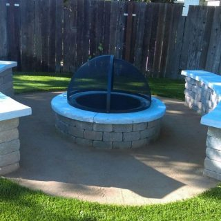 Antioch Ca Backyard Turf Amp Fire Pit With Stepping Stones