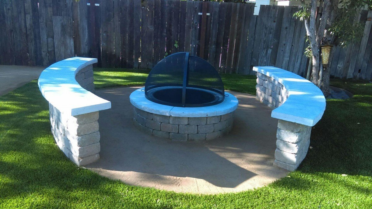antioch ca backyard turf u0026 fire pit with stepping stones