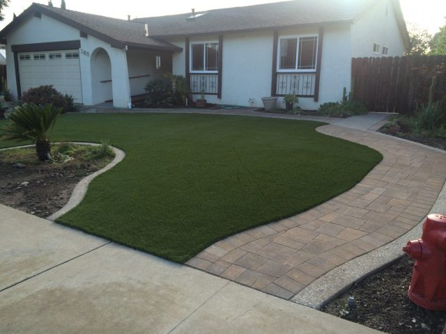 Project: Livermore, CA – Front Yard Synthetic Grass & Pavers