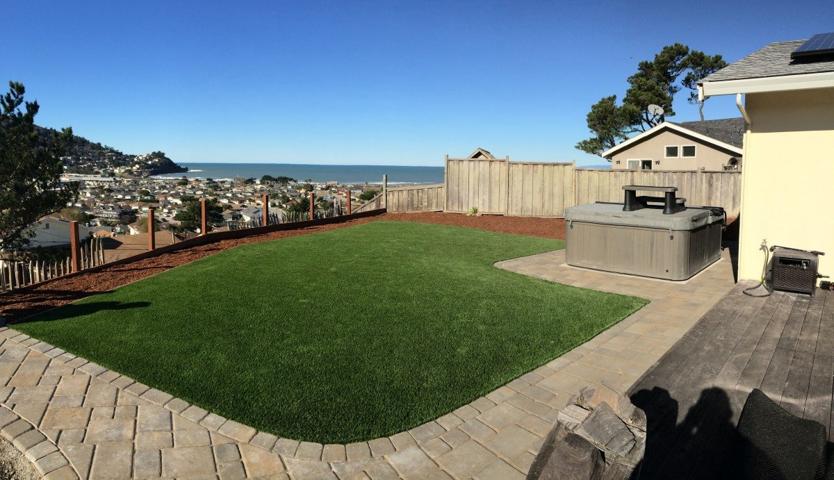pacifica ca backyard synthetic grass u0026 pavers with a view